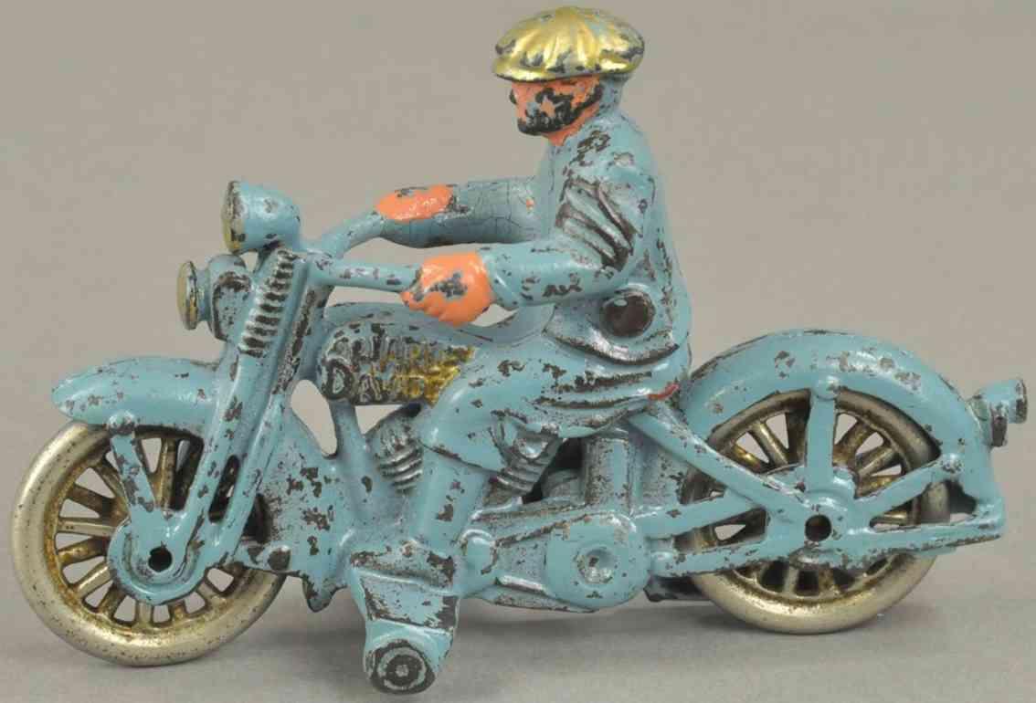 hubley gusseisen motorrad harley davidson ziviler fahrer blau vernickelte Speichenraeder
