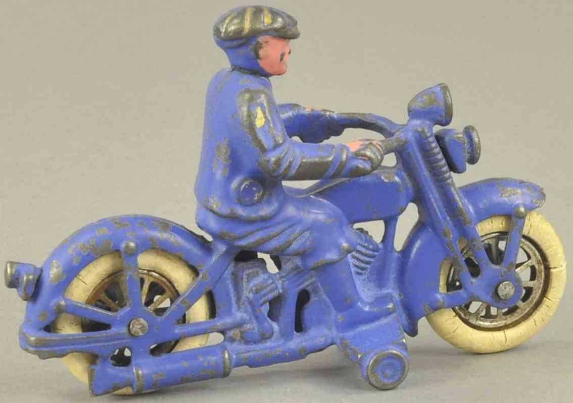 hubley spielzeug gusseisen harley davidson ziviler motorradfahrer dunkelblau