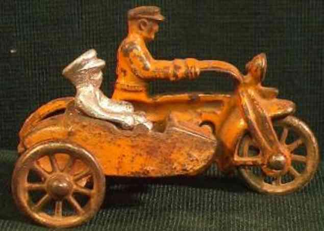 hubley gusseisen polizeimotorrad beiwagen beifahrer gelb