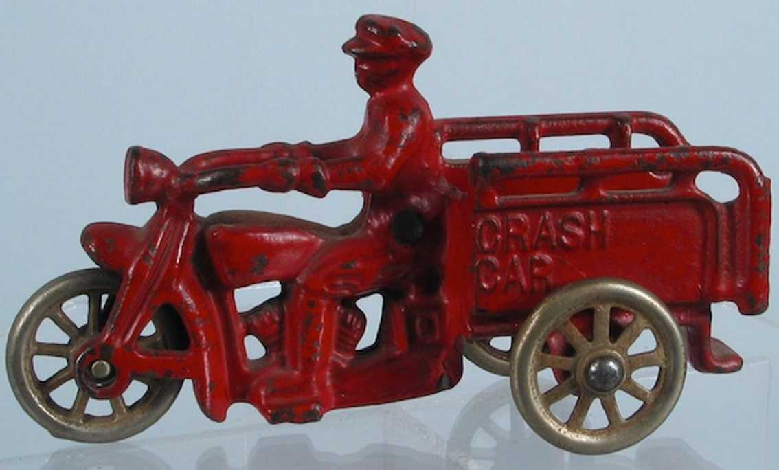 hubley gusseisen motorrad mit uniformiertem polizisten rot