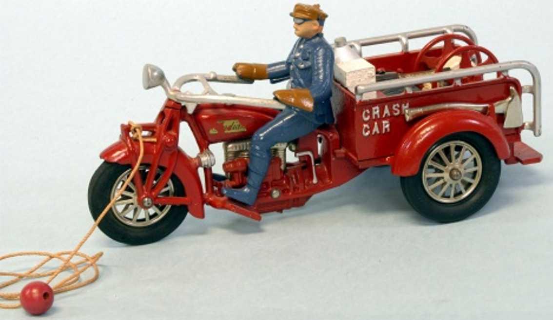hubley 27 spielzeug gusseisen liefer-motorrad rot blau