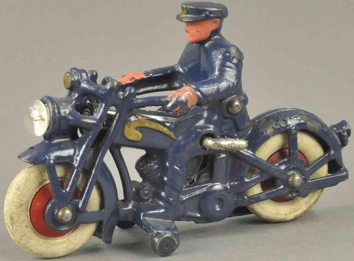 hubley spielzeug gusseisen motorradfahrer scheinwerfer blau