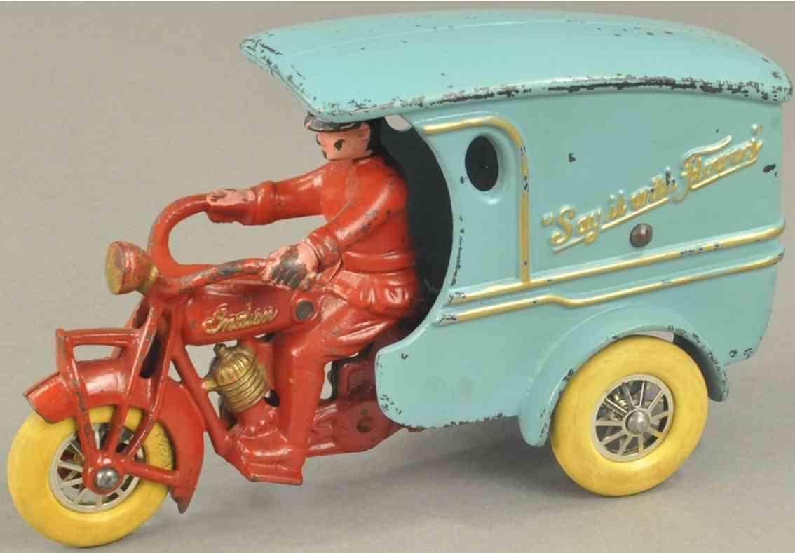 hubley gusseisen lieferwagen motorrad fahrer drehbarer kopf rot blau