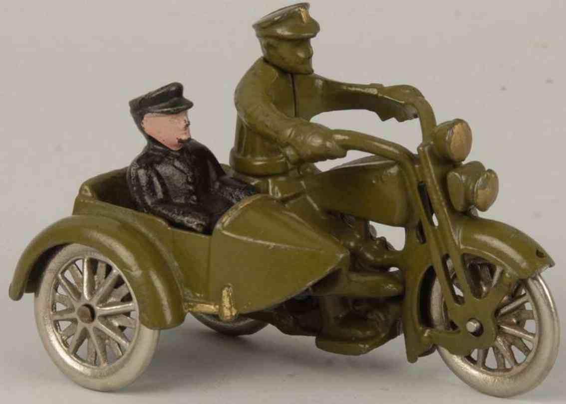 hubley gusseisen harley davidson motorradfahrer seitenwagen olive gruen