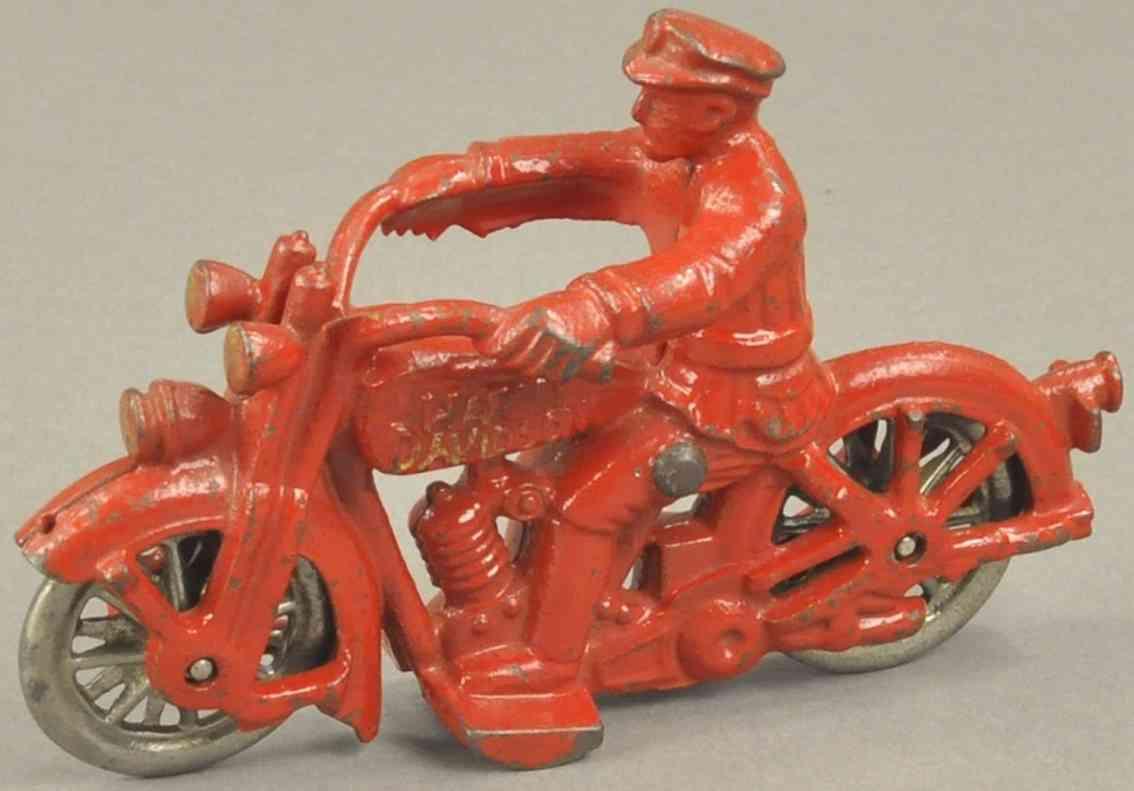 hubley spielzeug gusseisen harley davidson motorradfahrer polizist rot