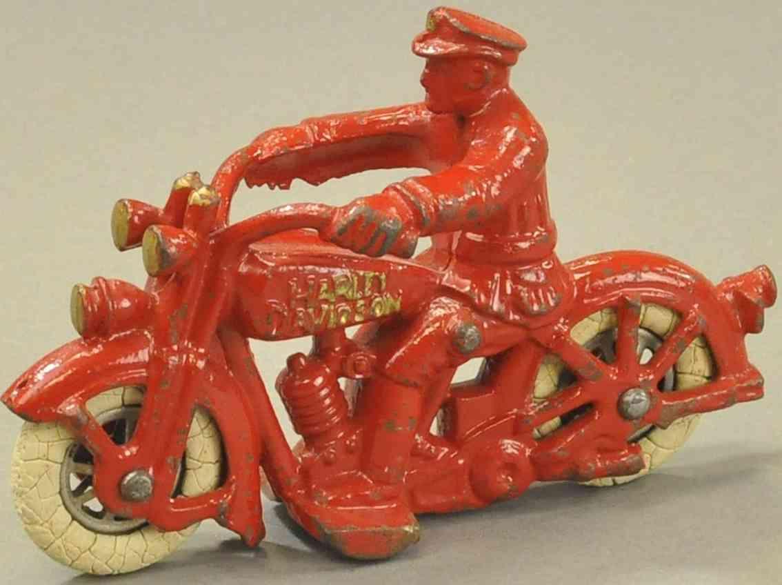 hubley spielzeug gusseisen harley davidson motorrad mit polizisten rot