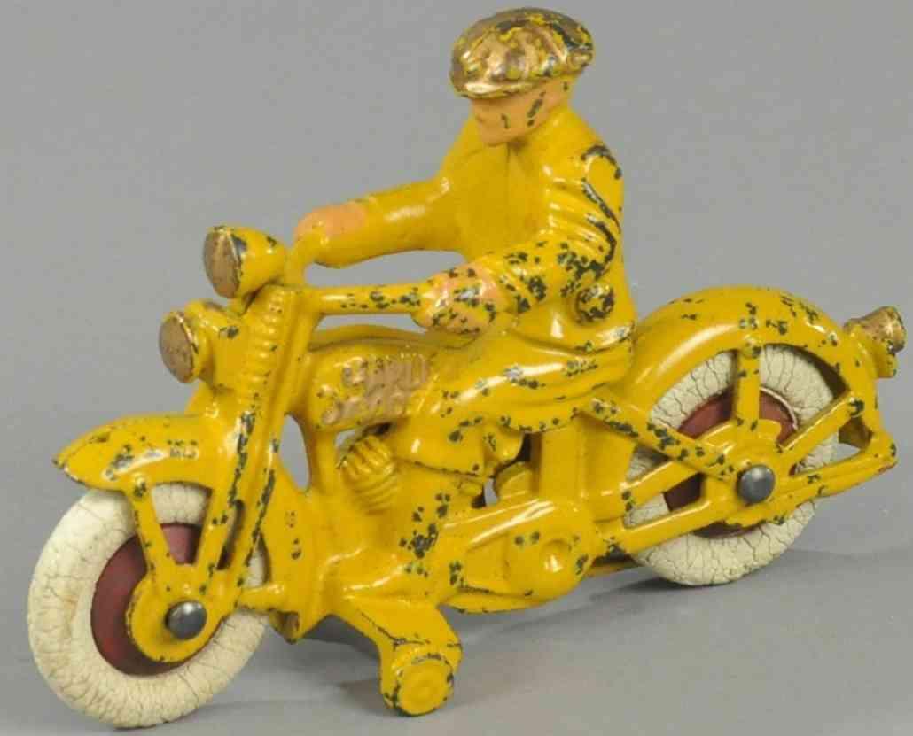 hubley spielzeug gusseisen motorrad harley davidson gelb