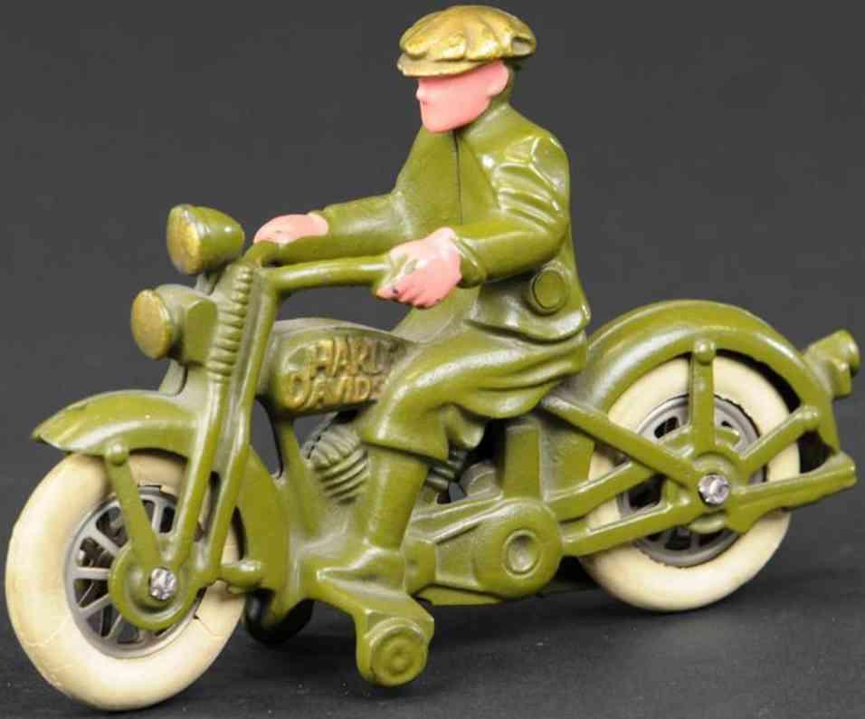 hubley harley davidson motorrad ziviler fahrer gruen