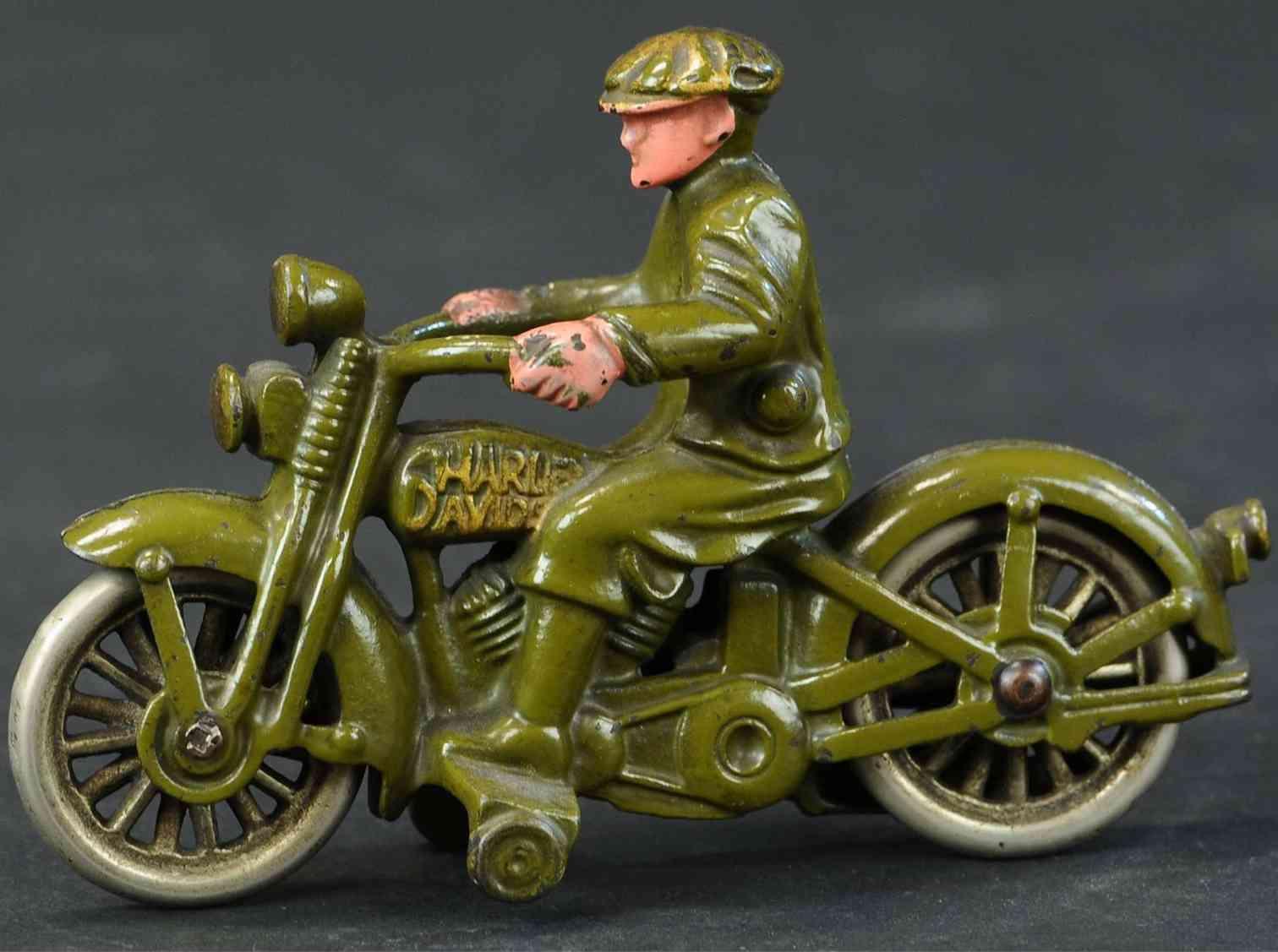 hubley harley davidson gusseisen motorrad ziviler fahrer gruen