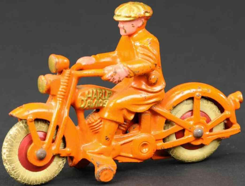hubley gusseisen harley davidson motorrad ziviler fahrer orange