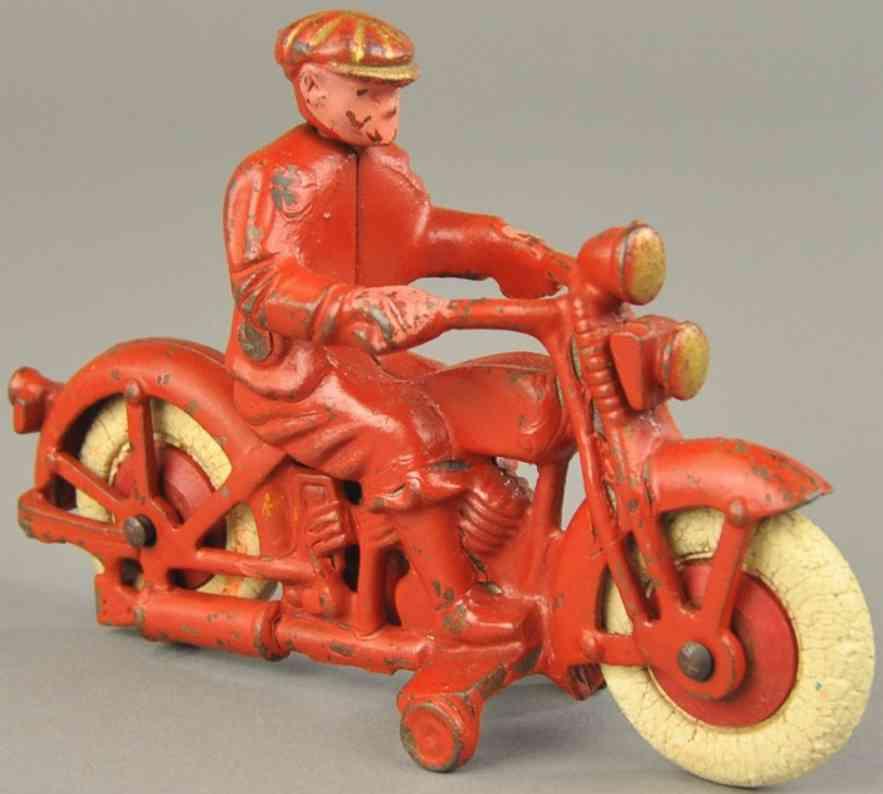 hubley spielzeug gusseisen harley davidson motorrad mit zivilem fahrer rot