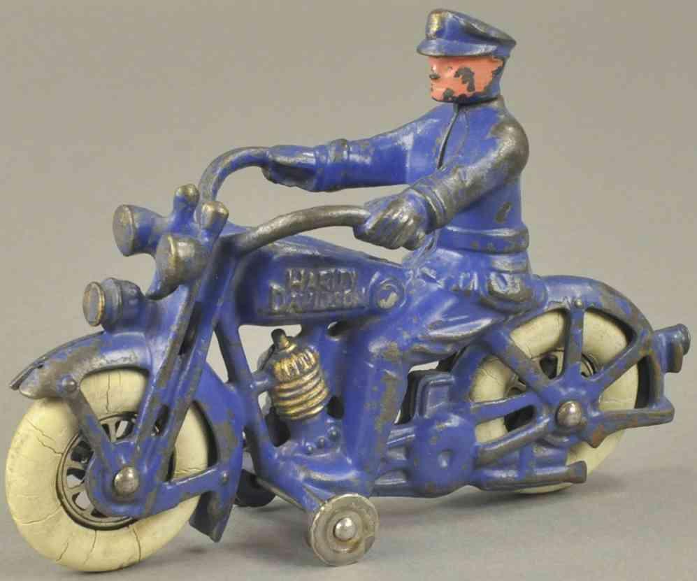 hubley spielzeug gusseisen harley davidson motorradfahrer dunkelblau