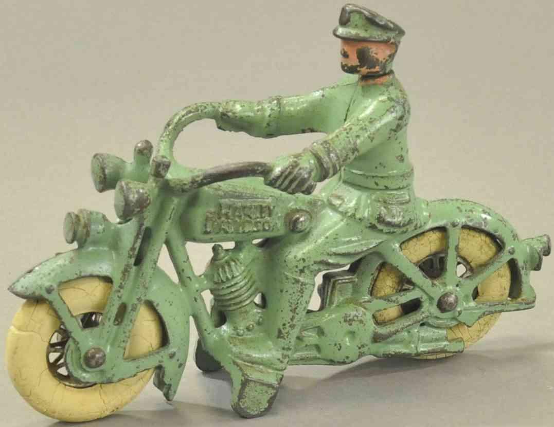 hubley spielzeug gusseisen harley davidson motorrad gruen polizist