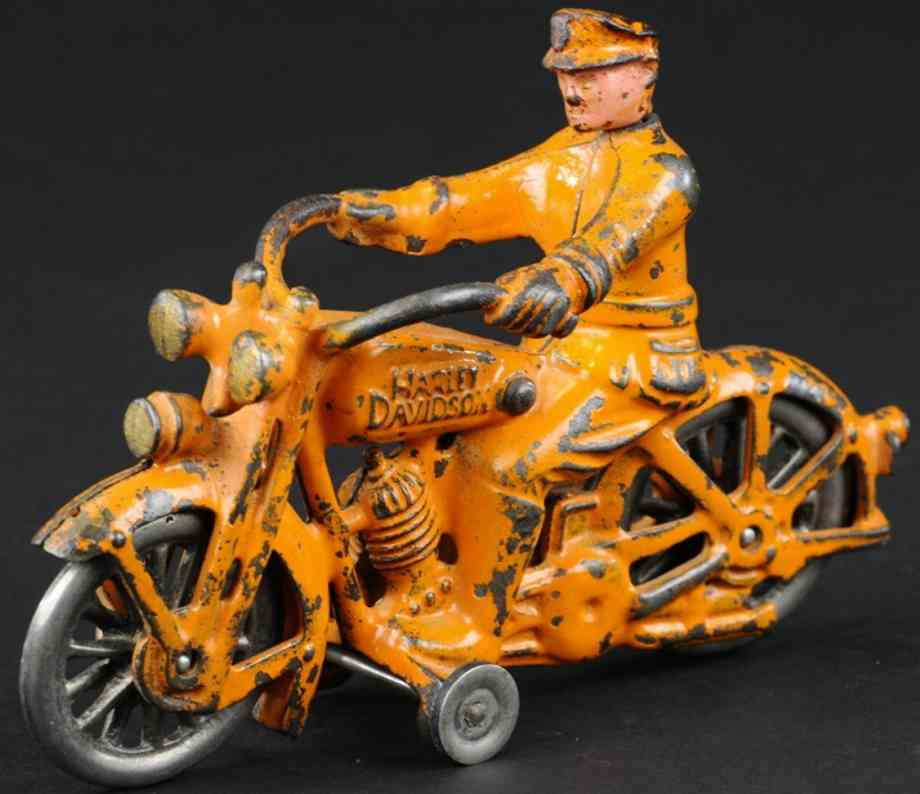 hubley cast iron toy harley davidson motorcycle swivel head orange