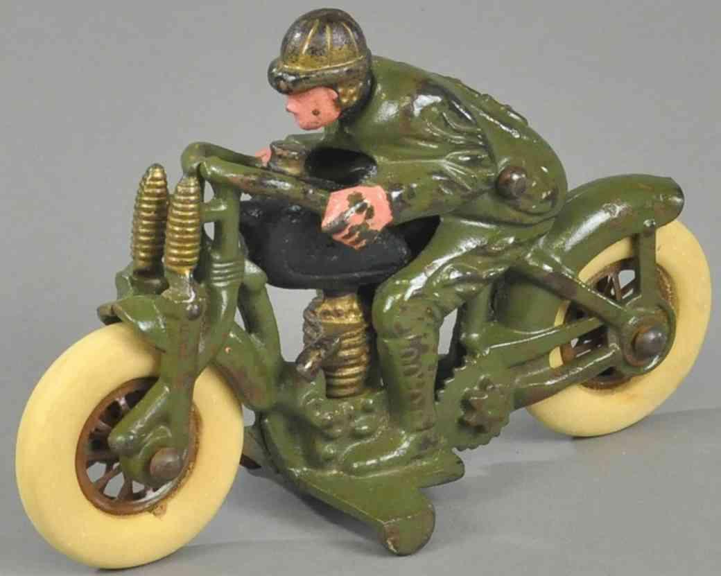 hubley 2 spielzeug gusseisen motorradfahrer olive