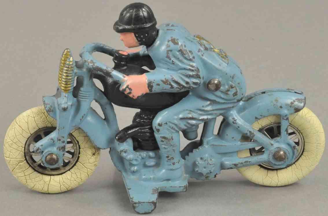 hubley spielzeug gusseisen hillclimber motorradfahrer blau gummireifen