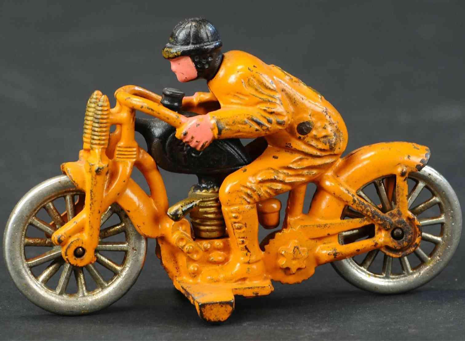 hubley spielzeug gusseisen motorrad motorradfahrer orange
