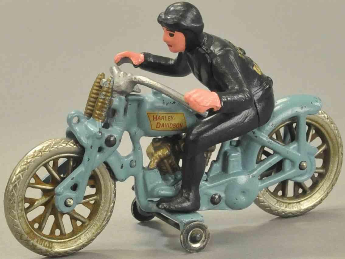 hubley spielzeug gusseisen motorrad hellblau schwarz
