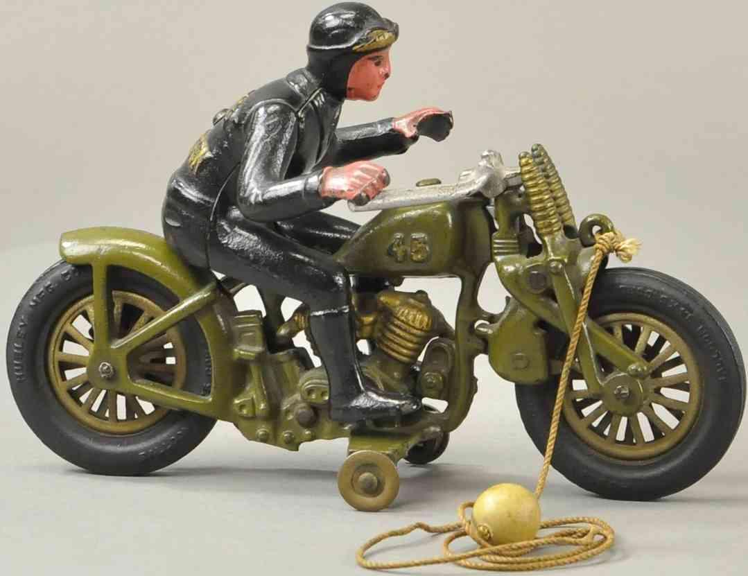hubley spielzeug gusseisen motorradfahrerolivgruen