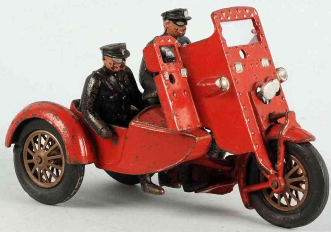 hubley spielzeug gusseisen indian bandi verfolgungsmotorrad seitenwagen rot