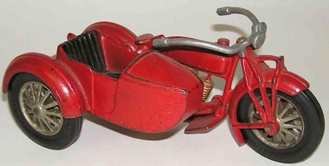 hubley spielzeug gusseisen indian polizeimotorrad seitenwagen 2 zylinder rot