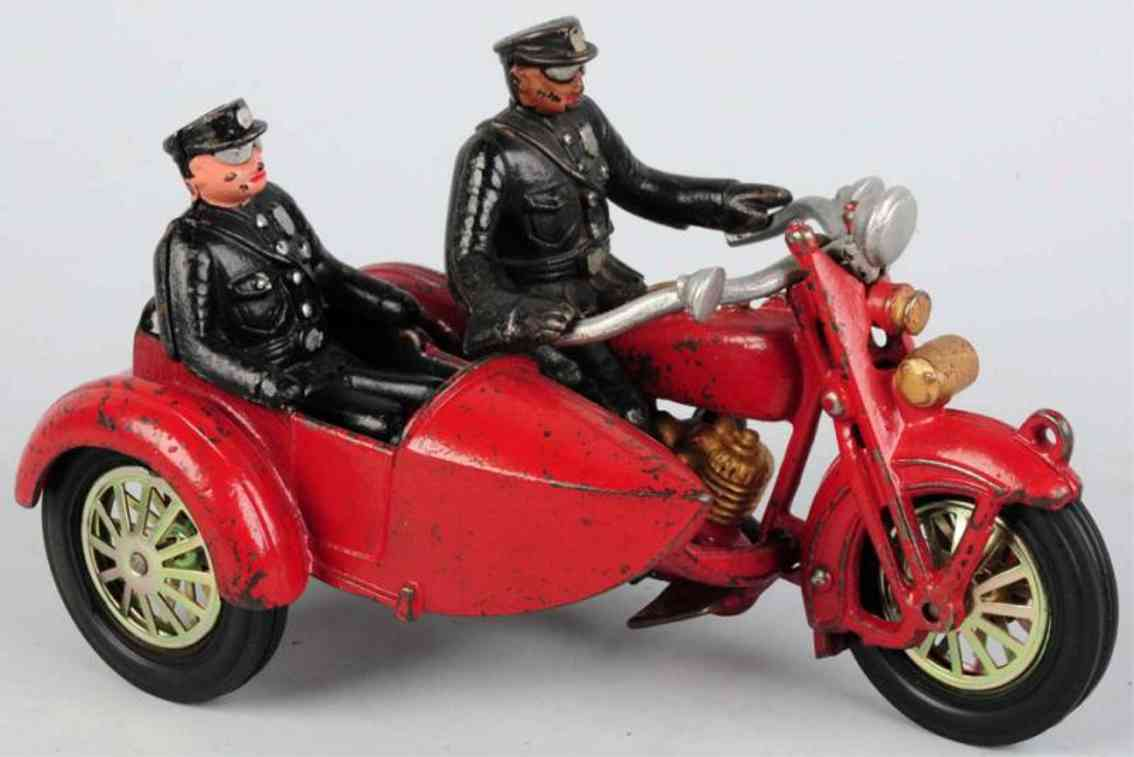 hubley spielzeug gusseisen indian polizei motorrad mit beiwagen in rot