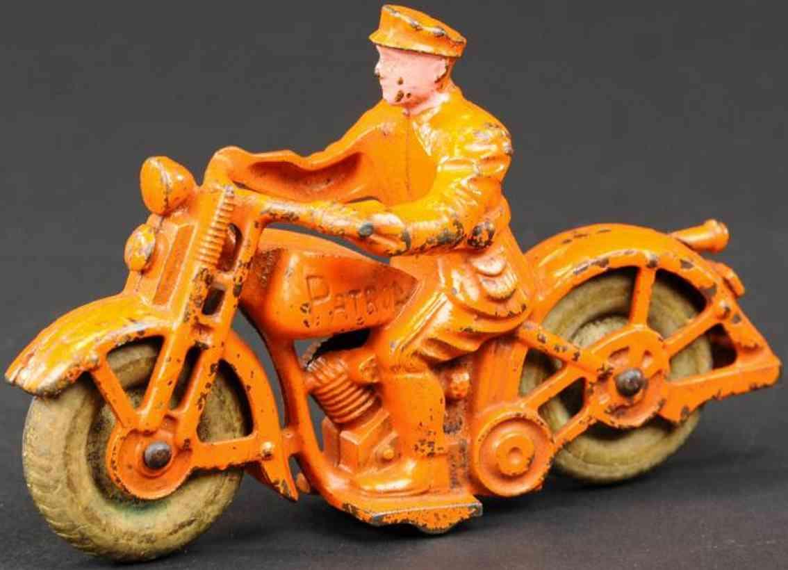 hubley spielzeug gusseisen motorradfahrer orange