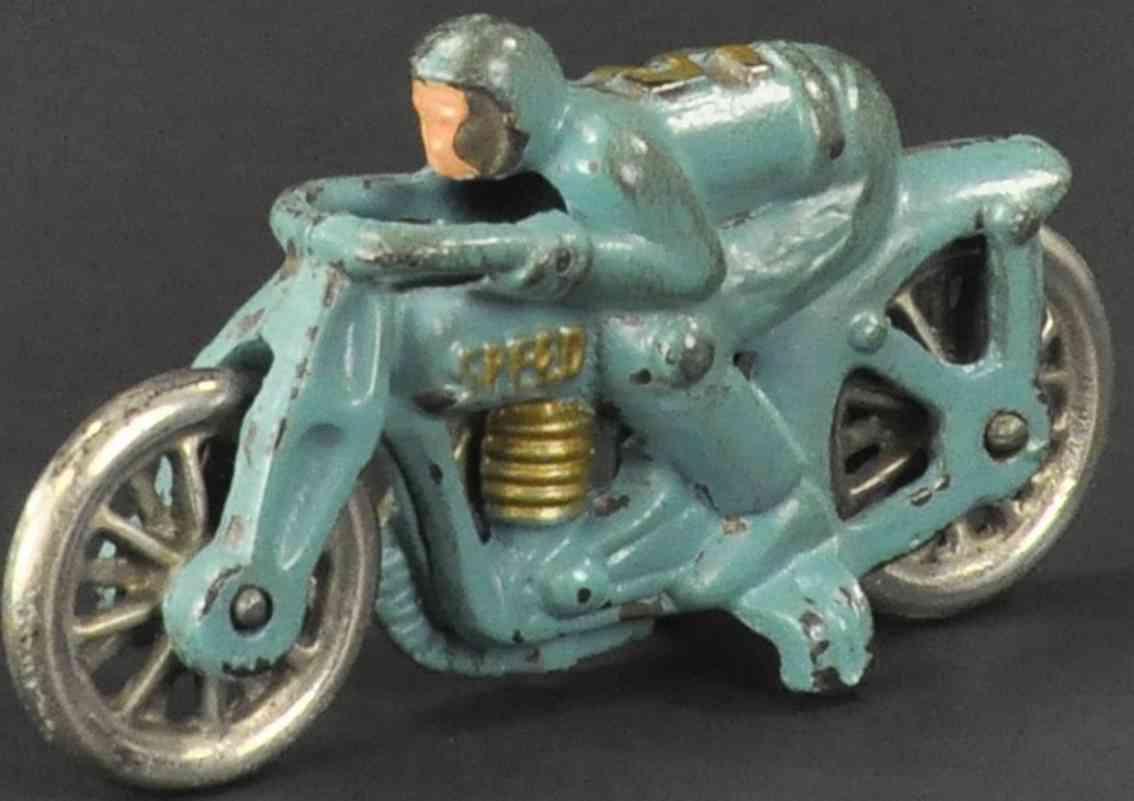 hubley spielzeug gusseisen rennmotorrad #5  blau