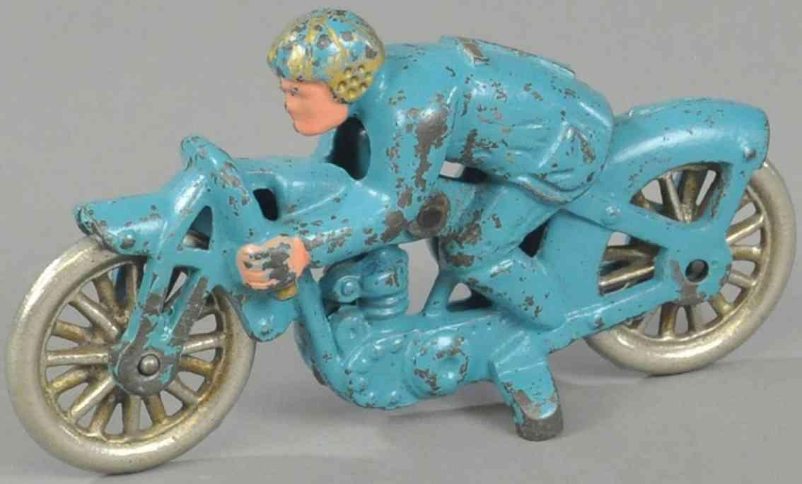 hubley spielzeug gusseisen motorradfahrer blau