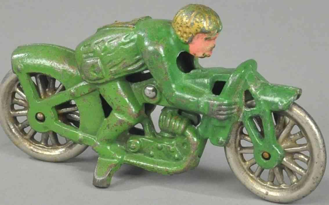 hubley spielzeug gusseisen motorradfahrer  gruen