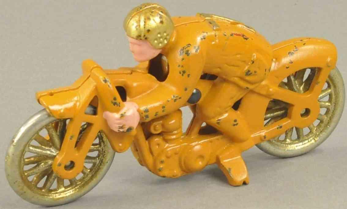 hubley spielzeug gusseisen erbsenschiesser rennmotorradfahrer orange