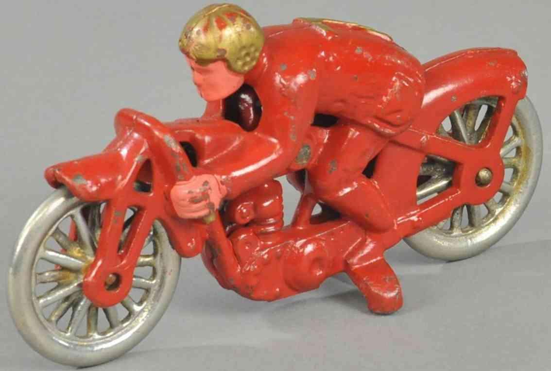 hubley spielzeug gusseisen erbsenschiesser motorradfahrer rot