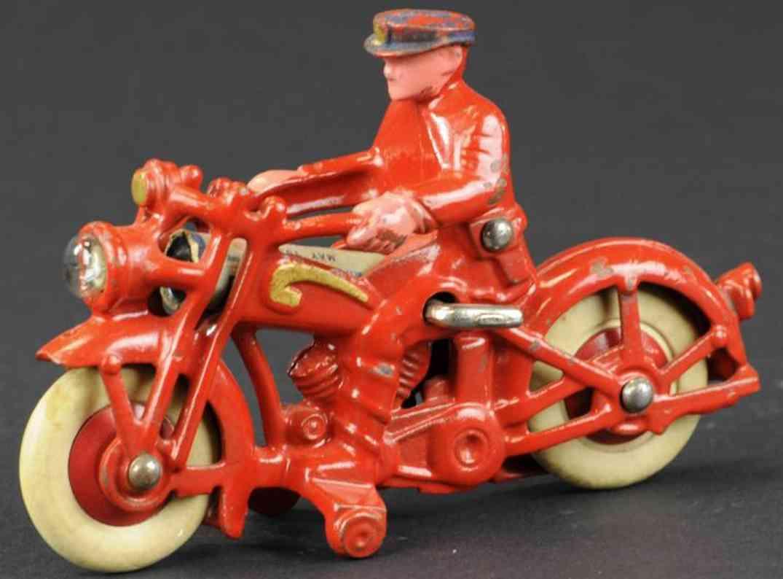hubley gusseisen polizist motorrad rot elektrischer scheinwerfer