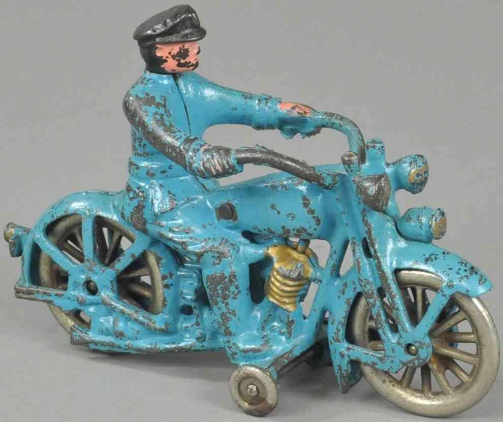 hubley spielzeug gusseisen harley davidson motorrad poizist  blau