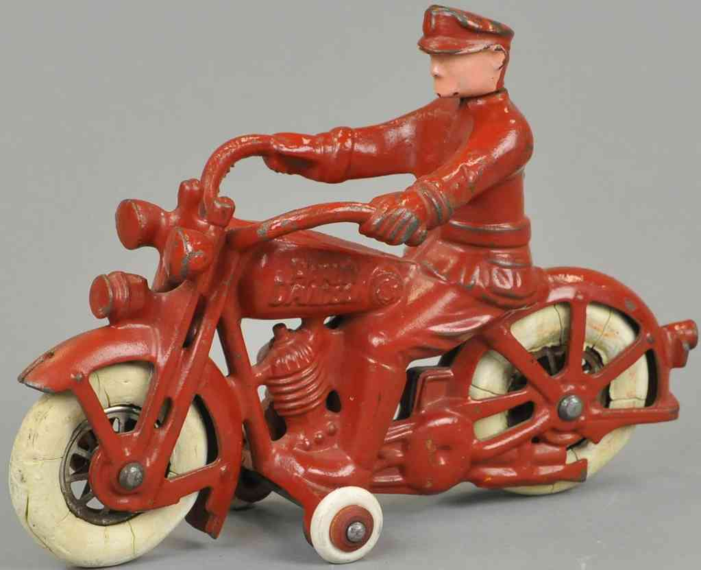 hubley cast iron toy motorcyclist red electric lights