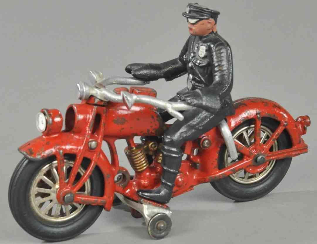 hubley spielzeug gusseisen motorrad polizist scheinwerfer rot