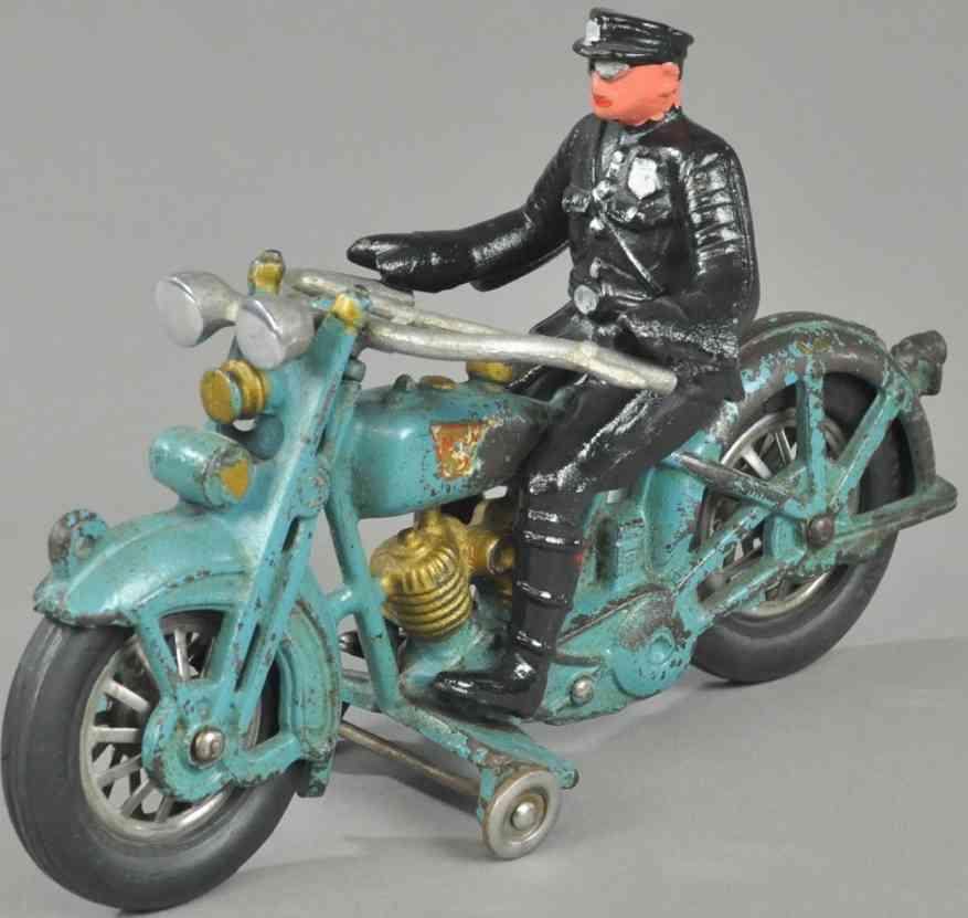 hubley spielzeug gusseisen harley davidson polizeimotorrad blau