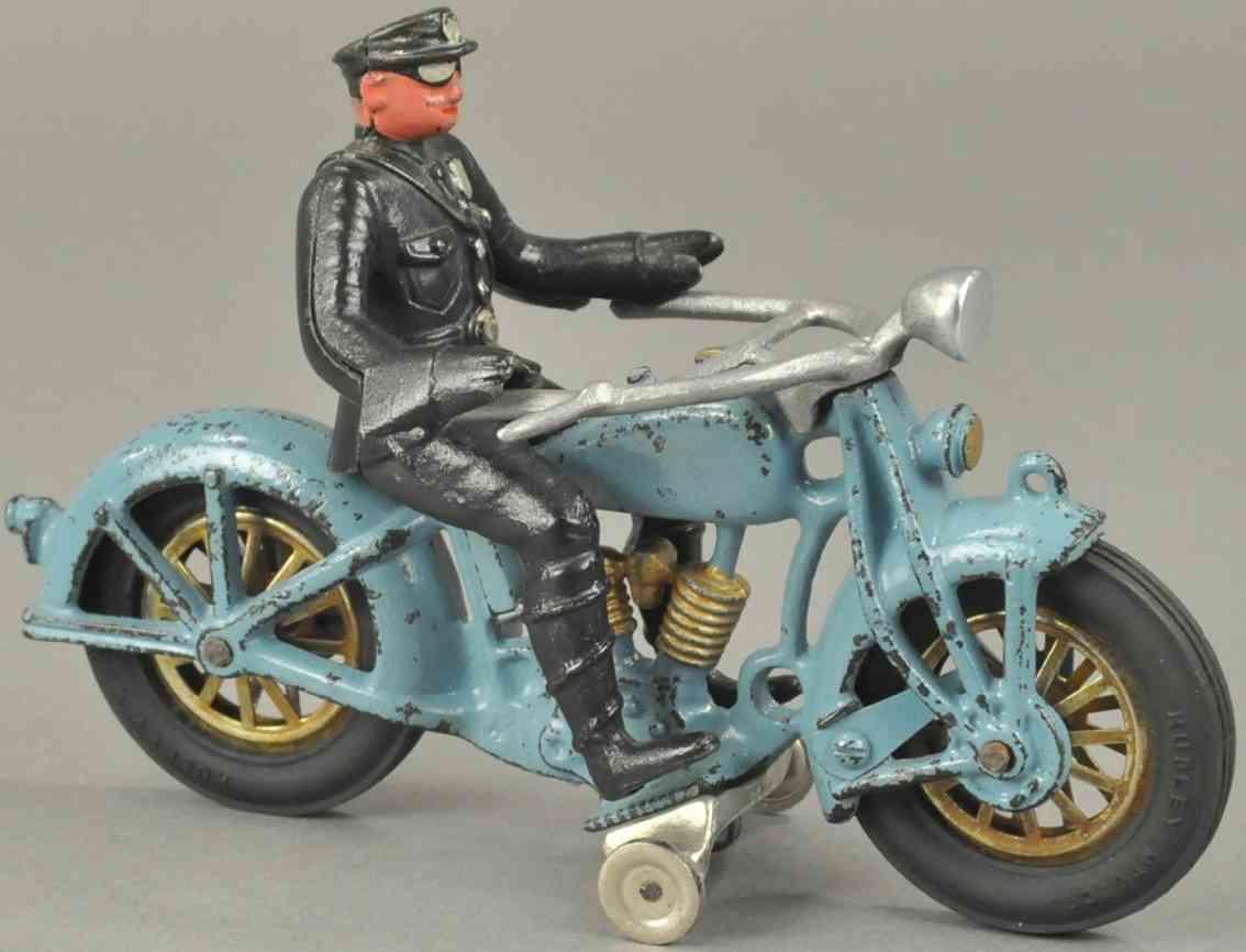 hubley spielzeug gusseisen motorradfahrer blau schwarz zwei zylinder
