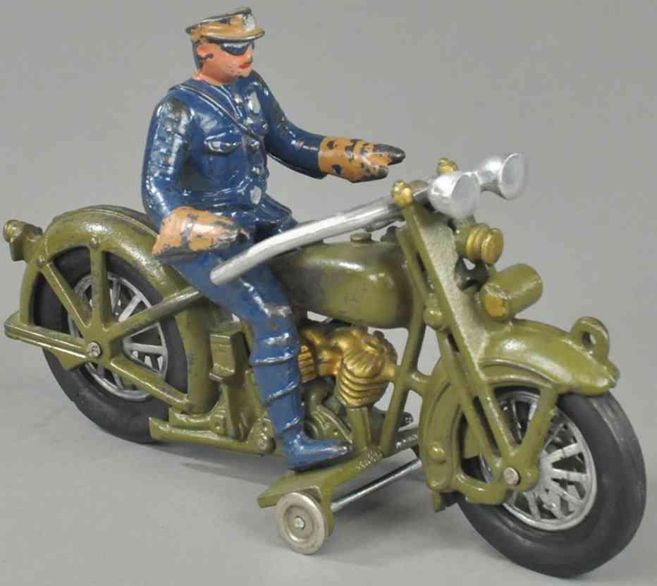 hubley spielzeug gusseisen motorrad harley davidson poilizist oliv gruen