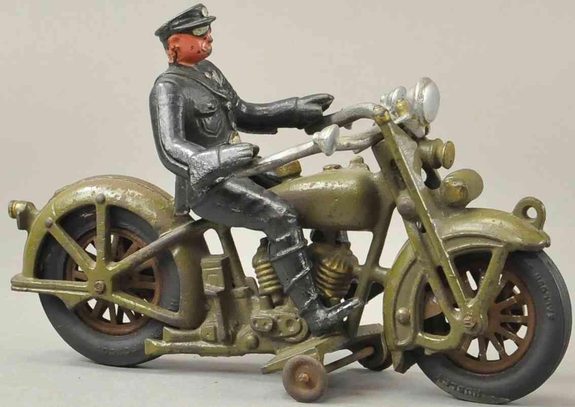 hubley spielzeug gusseisen harley polizeimotorrad oliv gruen schwarz
