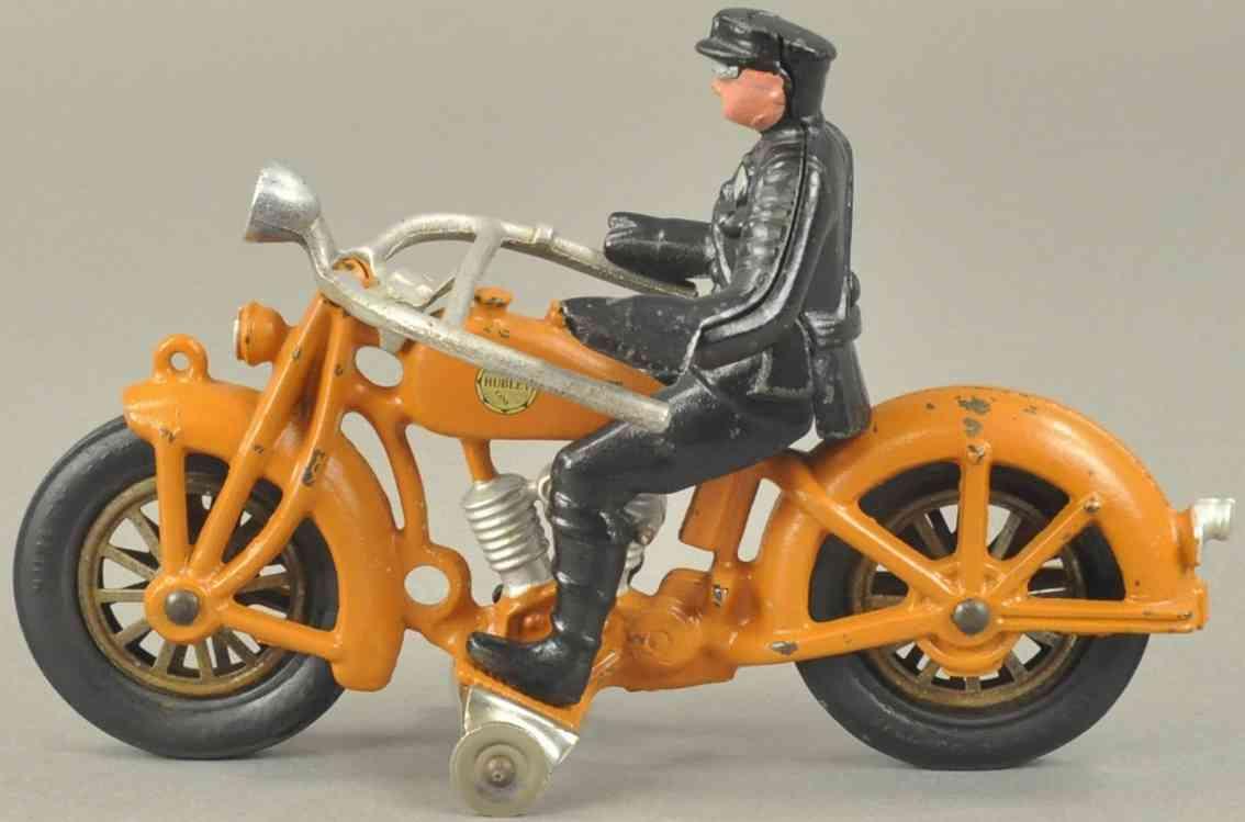 hubley spielzeug gusseisen zwei zylinder motorrad  orange polizist schwarz