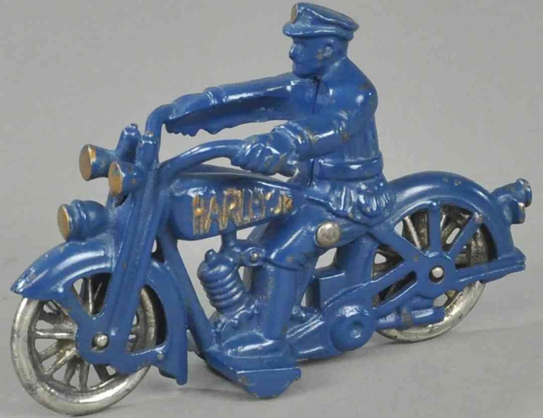hubley spielzeug gusseisen harley davidson polizeimotorradfahrer blau