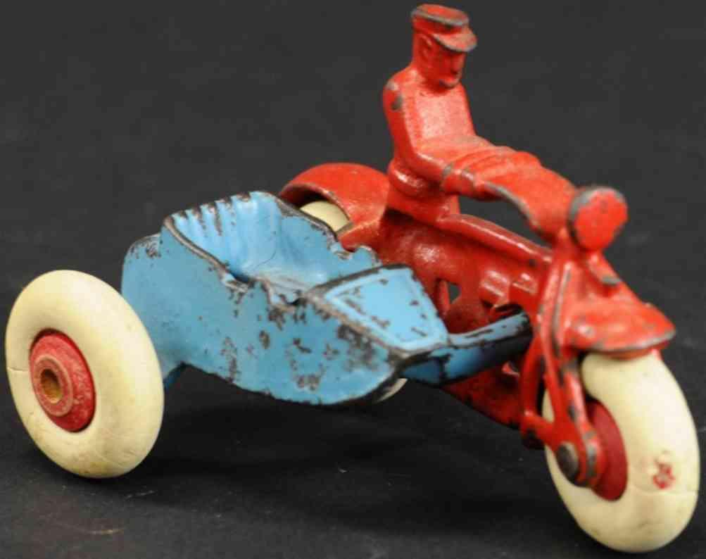 hubley spielzeug gusseisen polizeimotorrad seitenwagen  rot blau