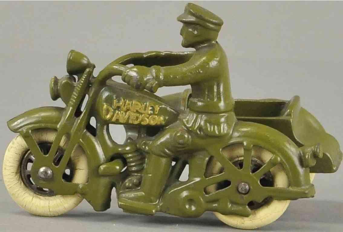hubley spielzeug gusseisen harley davidson motorradfahrer beiwagen gruen