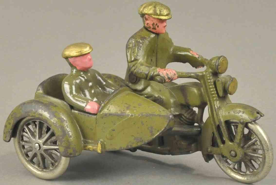 hubley spielzeug gusseisen harley davidson motorradfahrer beiwagen olivgruen