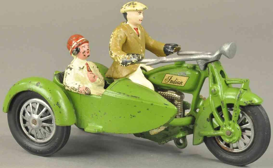 hubley spielzeug gusseisen motorradfahrer beiwagen gruen indian