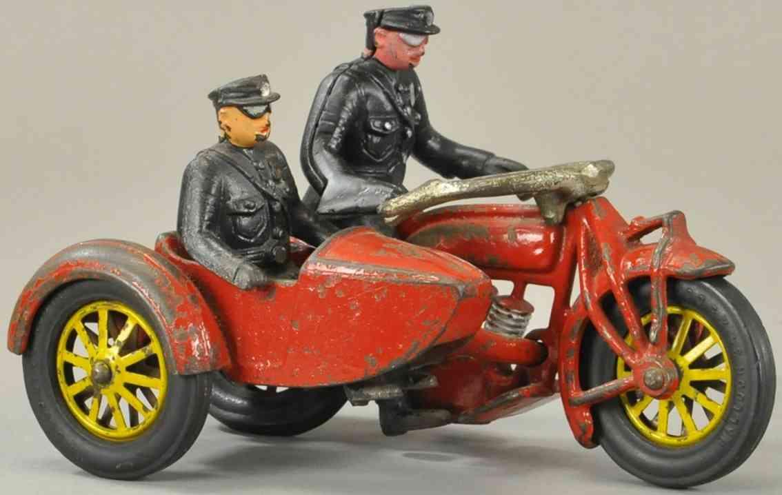 hubley spielzeug gusseisen polizei motorrad mit seitenwagen