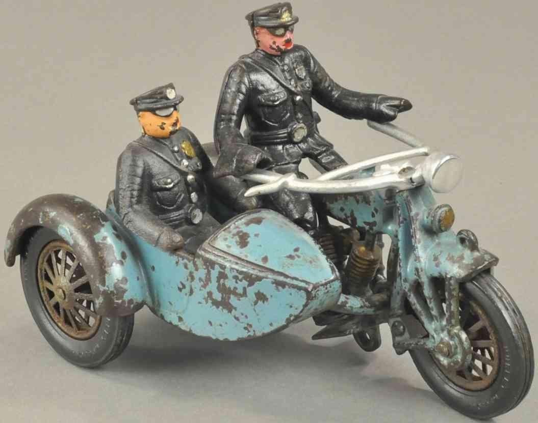 hubley spielzeug gusseisen zweizylinder motorrad beiwagen zwei polizisten blau schwarz