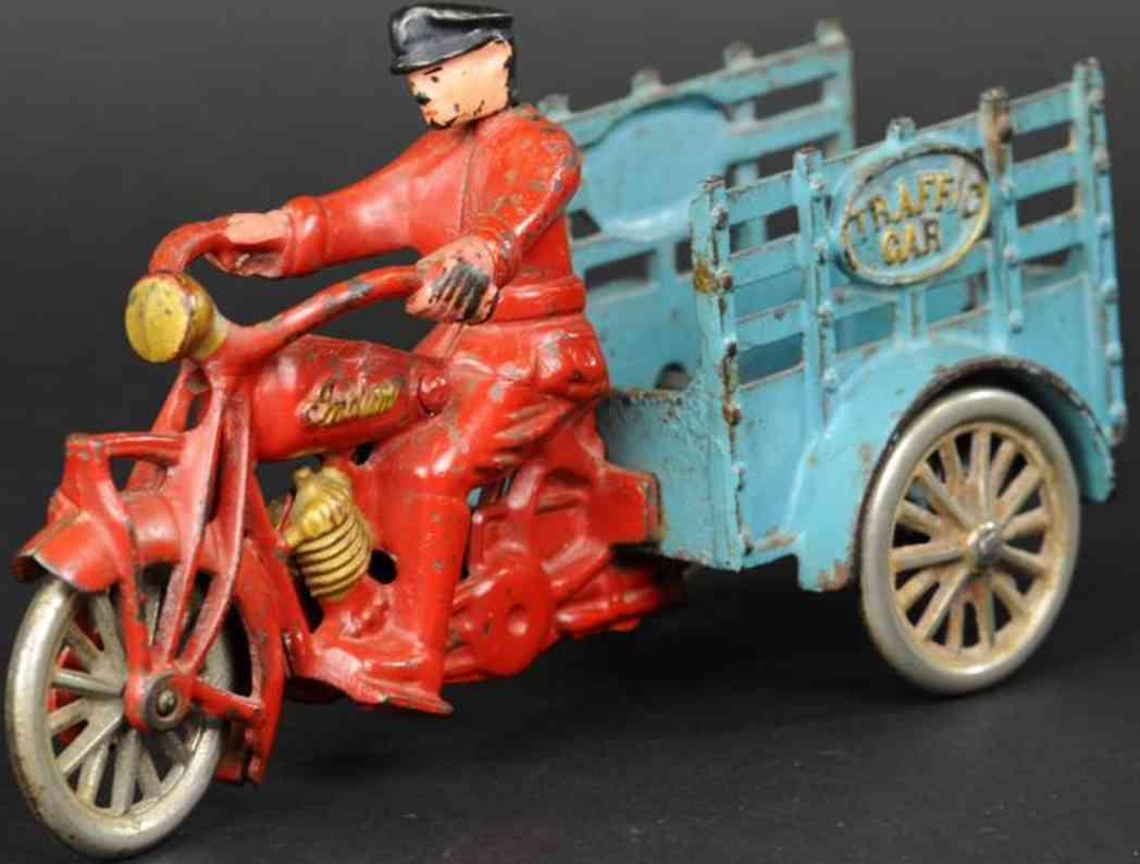 hubley spielzeug gusseisen motorradfahrer anhaenger  indian rot blau