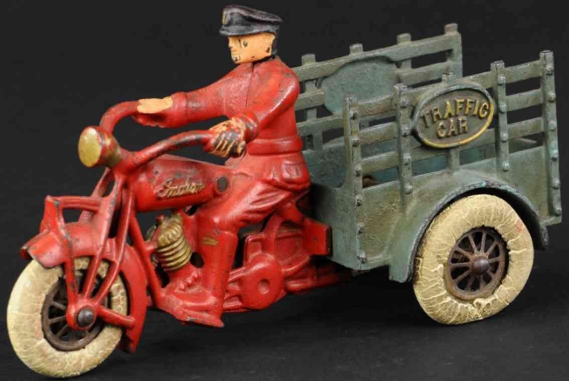 hubley gusseisen motorrad anhaenger rot blau